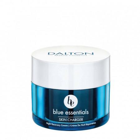 Blue Essential Night Recovery Cream 50 ml. - Cremă hidratantă vegană regenerantă de noapte cu ulei de argan și unt de shea