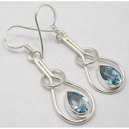 Cercei Argint 925 cu Topaz Albastru, 4.5 cm lungime