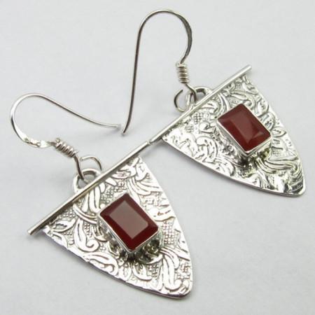Poze Cercei Argint cu Carnelian 3,7 cm