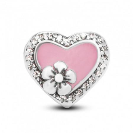 Talisman Argint 925 rodiat Inima cu floricica