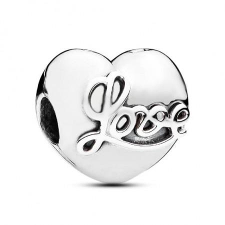 """Talisman Argint 925 rodiat Inima cu mesaj """"Love"""""""