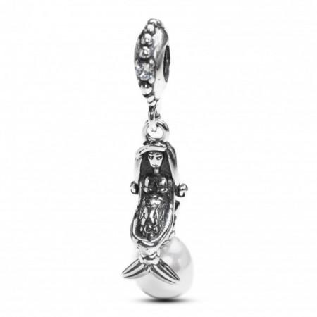 Talisman Argint 925 rodiat Sirena cu perla