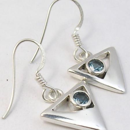 Cercei Argint 925 cu Topaz Albastru, 2,9 cm lungime