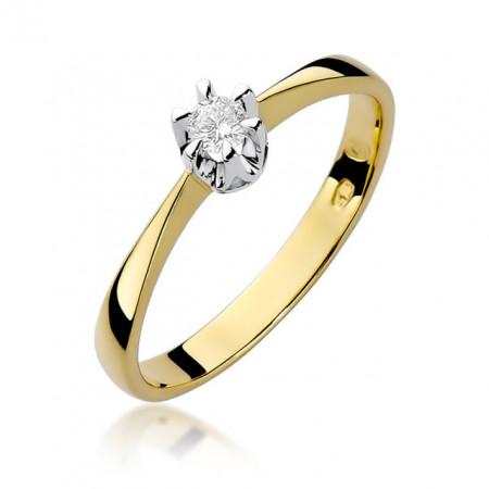 Inel Aur 14 k cu Diamant 0.10 ct