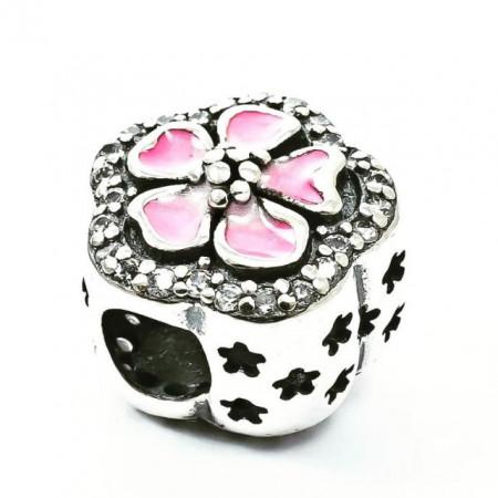 Talisman Argint 925 rodiat Pink flower