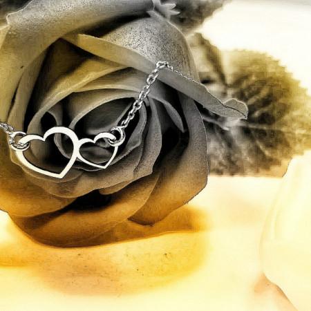 Bratara cu inimioare 11x18mm - Argint 925 Rodiat