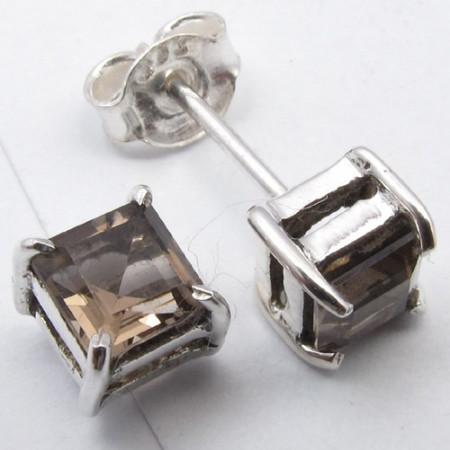 Cercei Argint cu Cuart Fumuriu (0,5 cm)