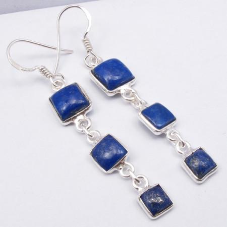 Poze Cercei Argint cu Lapis Lazuli (5,5 cm)