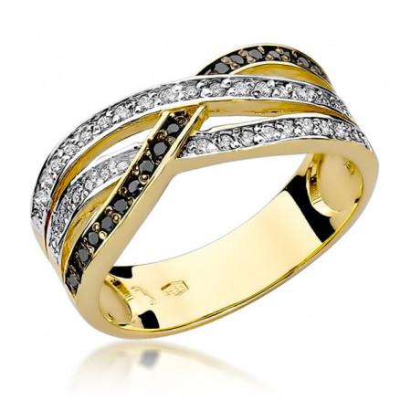Inel Aur 14K cu Diamante Negre 0.27 ct