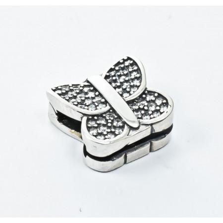 Talisman Argint 925 rodiat Butterfly cu zirconiu- Simulated Diamond