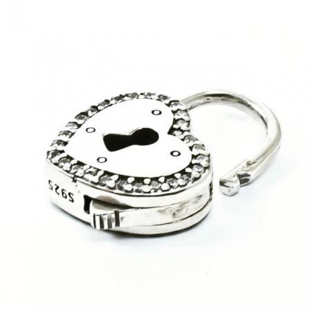 Talisman Argint 925 rodiat Heart Lock cu Zirconiu - Simulated Diamond