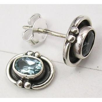 Cercei Argint 925 cu Topaz Albastru, 1 cm lungime