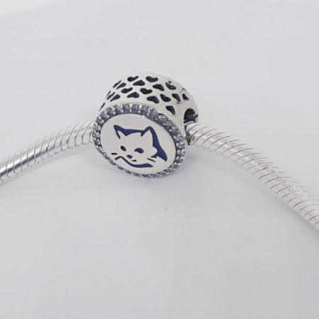 Talisman Argint 925 rodiat Cerc cu pisicuta Simulated Diamond