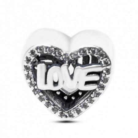Talisman Argint 925 rodiat Cu Zirconiu Heart with love