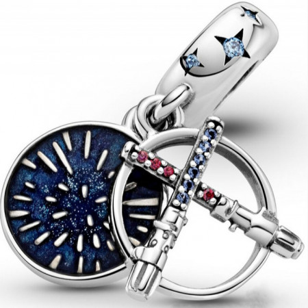 Talisman Argint 925 rodiat Made the force be with you Simulated Diamond