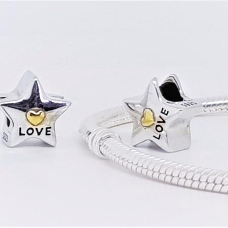 Talisman Argint 925 rodiat Steluta Love Simulated Diamond