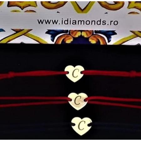 Bratara snur inima 7mm, personalizabila cu Initiala/Simbol - Aur 14k (prindere reglabila nou-nascut - adulti)