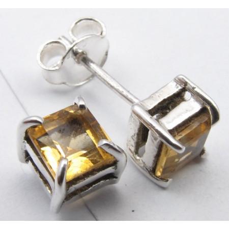 Cercei Argint 925 cu Citrin 0.5 cm lungime