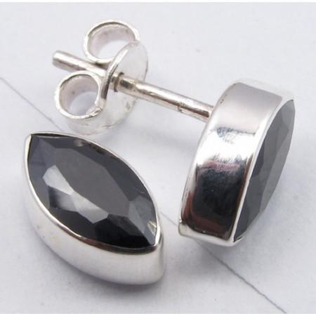 Cercei Argint 925 cu Onix Negru, 1,1 cm lungime