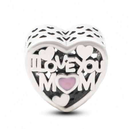 Talisman Argint 925 rodiat I love you Mom