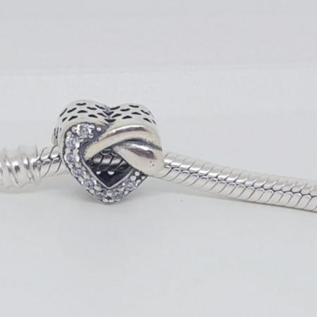 Talisman Argint 925 rodiat Inima cu pietricele Simulated Diamond