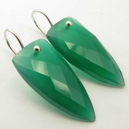 """925 Silver Green Onyx Earrings 1.5"""""""