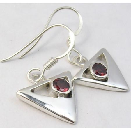 Poze Cercei Argint cu Garnet (2,9 cm)