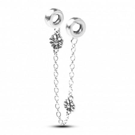 Talisman Argint 925 rodiat Lant de siguranta cu floricele