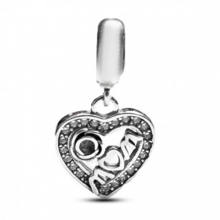 Talisman Argint 925 rodiat Mom heart