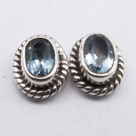 Cercei Argint 925 cu Topaz Albastru,0.9 cm lungime