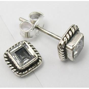 Poze Cercei Argint cu Zircon Cubic (0,7 cm)