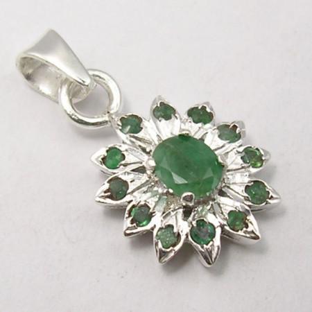 Pandantiv Argint 925 cu Emerald 2.3 cm lungime