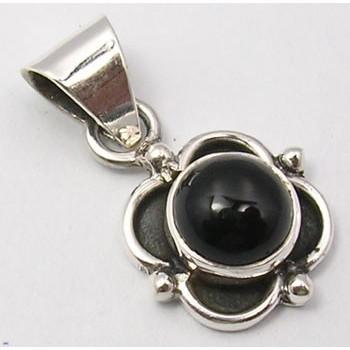 Pandantiv Argint 925 cu Onix Negru, 2.3 cm lungime