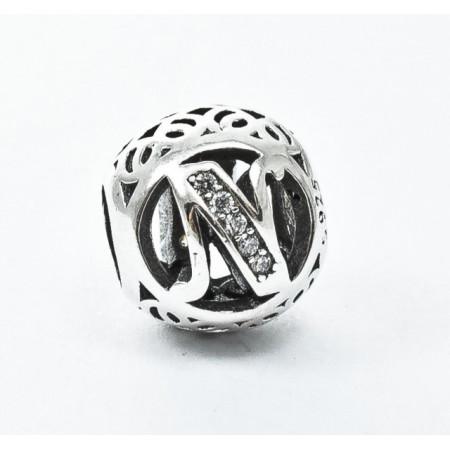Talisman Argint 925 rodiat cu litera N si zirconiu- Simulated Diamond