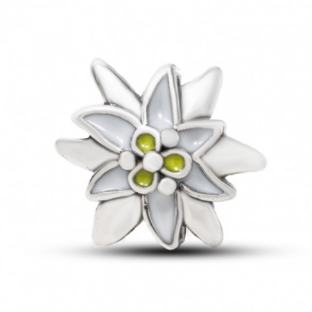 Talisman Argint 925 rodiat Floare de colt cu cristale verzi