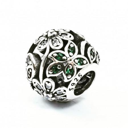 Talisman Argint 925 rodiat Green Flower cu zirconiu-Simulated Diamond