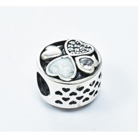 Talisman Argint 925 rodiat Inimioare si zirconiu-Simulated Diamond