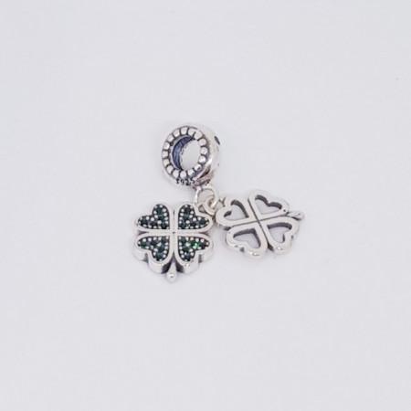 Talisman Argint 925 rodiat Trifoi cu 4 foi Simulated Diamond
