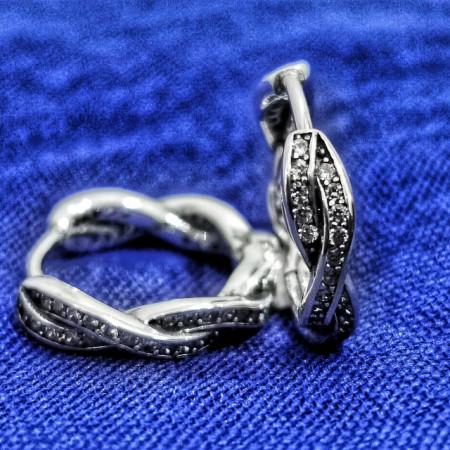 Cercei Argint 925 rodiat Rotunzi impletiti