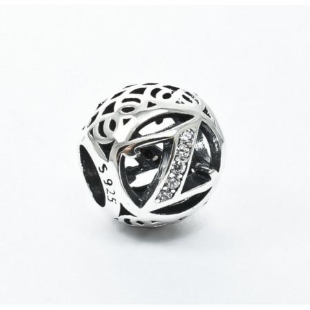 Talisman Argint 925 rodiat cu litera Z si zirconiu- Simulated Diamond