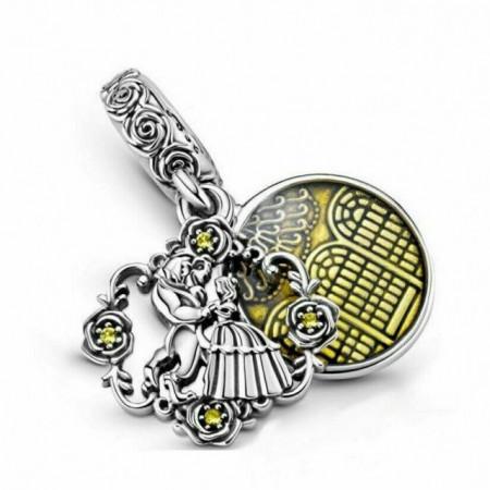 Talisman Argint 925 rodiat Frumoasa si bestia Simulated Diamond