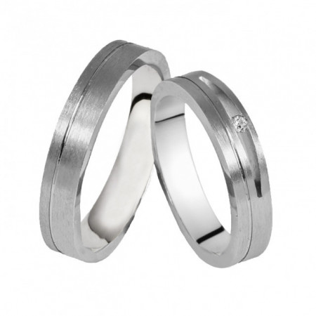 Verighete din Argint 925 rodiat si zirconiu- Simulated Diamond- Cod: AT2494