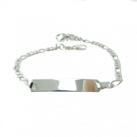 Bratara Figaro Argint 925, rodiat, cu placuta, lungime 21 cm