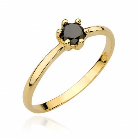 Inel Aur 14k cu Diamant Negru 0,30 ct
