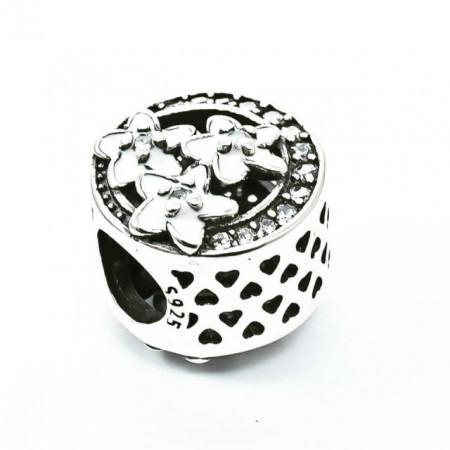 Talisman Argint 925 rodiat Crystal Lovely Flower - Simulated Diamond