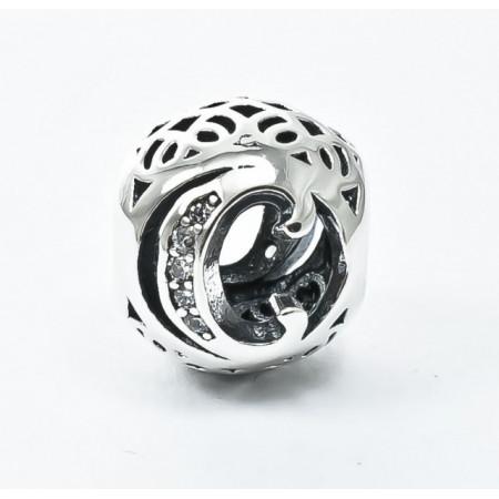 Talisman Argint 925 rodiat cu litera C si zirconiu- Simulated Diamond