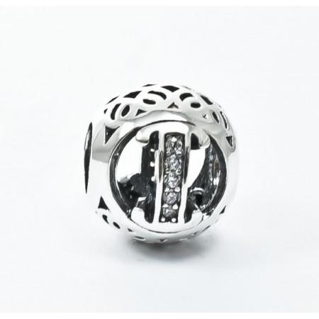 Talisman Argint 925 rodiat cu litera I si zirconiu- Simulated Diamond