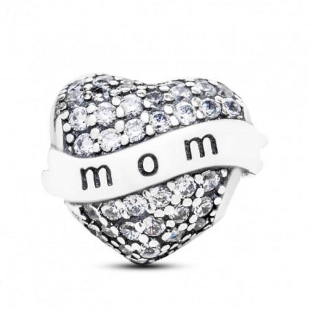 Talisman Argint 925 rodiat Cu Zirconiu Inima pentru mama