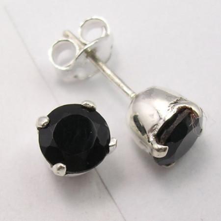 Cercei Argint 925 cu Onix Negru, 0.7 cm lungime