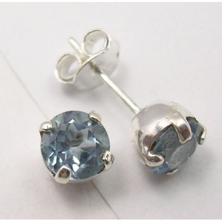 Cercei Argint 925 cu Topaz Albastru 0.7 cm